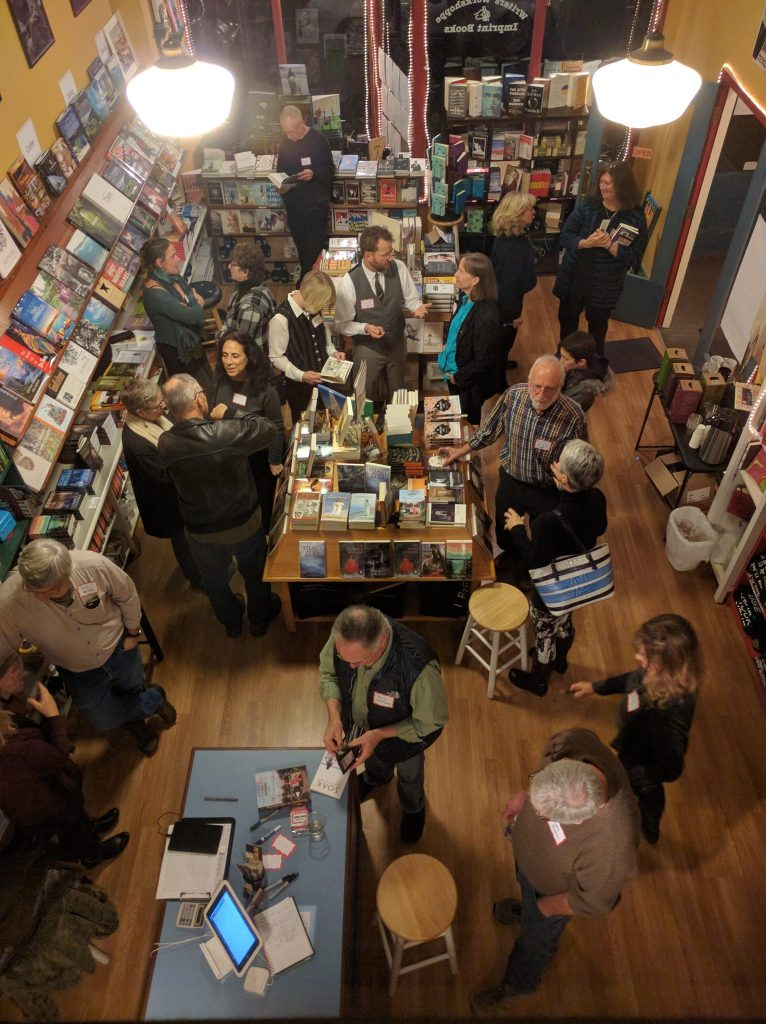 Local Authors' Night, The Writers' Workshoppe & Imprint Books, Port Townsend, WA, December 3, 2016. Photo Courtesy of Anna & Peter Quinn, Owners.